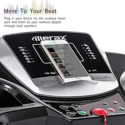 Merax Electric Folding Treadmill - Easy Assembly Fitness Motorized Running Jogging Machine with Speakers for Home Use, 12 Preset Programs