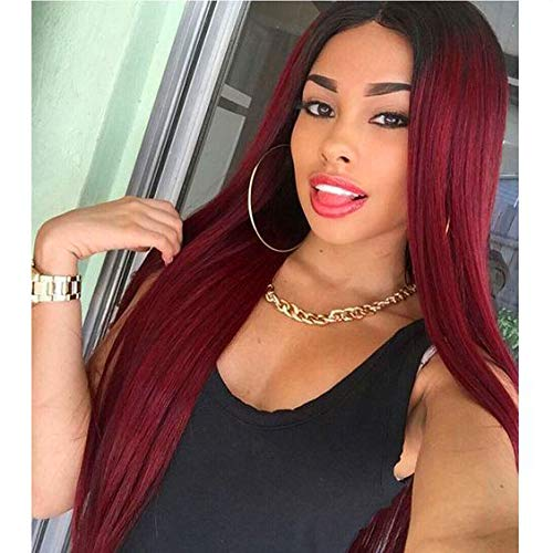 AISI HAIR Long Straight Wig Ombre Red Synthetic