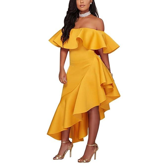 2fb0c6a55 Vestido de Mujer Sexy Vestido de Noche sin Mangas Elegante Vestido de  Banquete Vestido de Dobladillo Irregular Un Volante con Cuello de una Sola  pestaña  ...