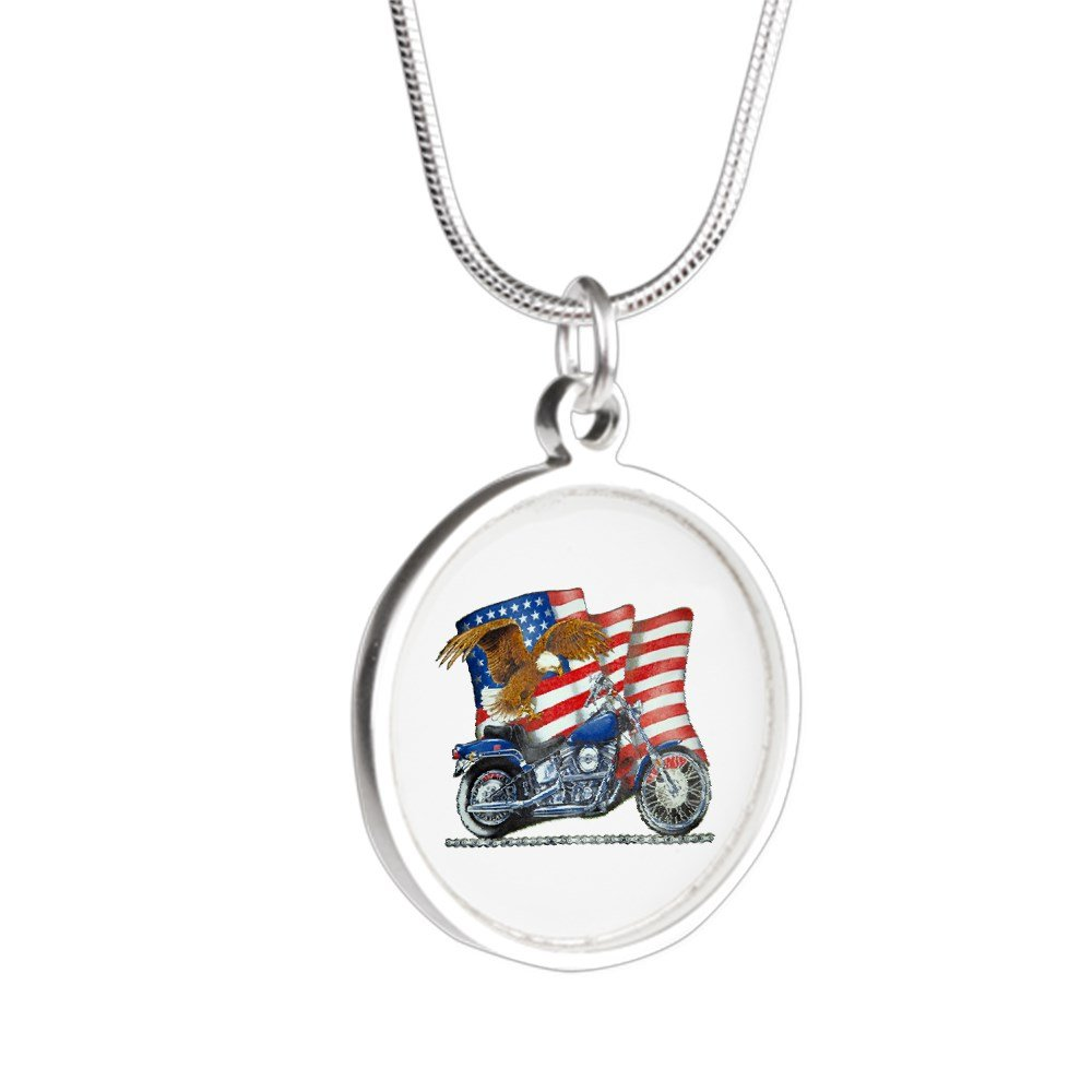Royal Lion Silver Round Necklace Motorcycle Eagle and US Flag