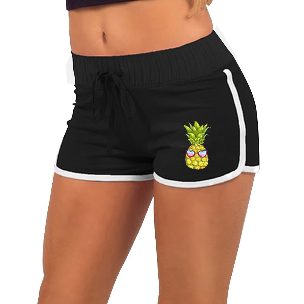 Girl's Funny Pineapple with Sunglass Summer Sexy Low Waist Beach Yoga Hot Pants Gym Home Mini Athletic Shorts