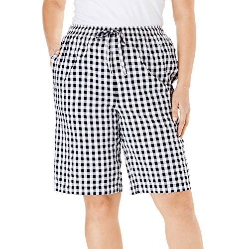 Woman Within Women's Plus Size Seersucker Short - Black Gingham, 14 - Seersucker Shorts Gingham
