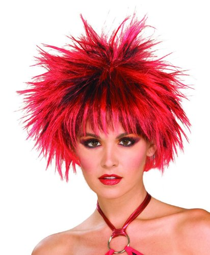 Cyndi Costumes Lauper (Spiked Punk Black and Red Wig - Adult)