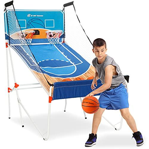 EJETGAME 농구 아케이드 게임 어린이 농구 선물 소년 소녀 어린이 청소년 및 청소년   16-IN-1 게임 듀얼 샷