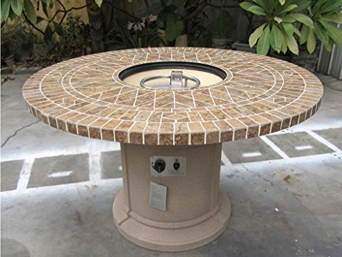 Gas Fireplace Fire Pit Outdoor, Porcelain Mosaic Tile 48
