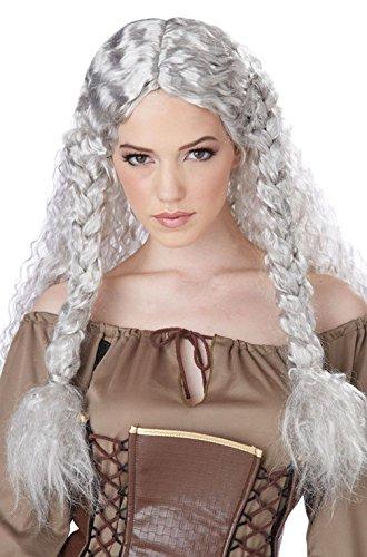 Mememall Fashion Norse Maiden Viking Princess Warrior Costume Wig (White/Gray) (Lil Viking Costume)