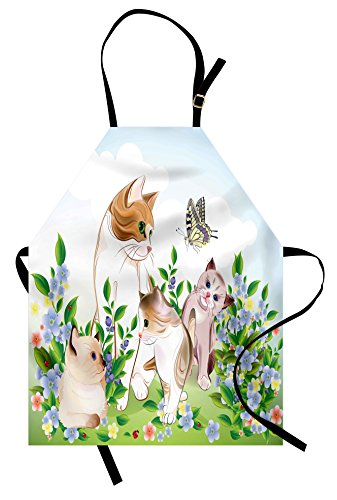 Ambesonne Cat Apron, Cute Kittens in Flower Meadow Field Happy Cats Family with Butterfly Kids Cartoon Print, Unisex Kitchen Bib Apron with Adjustable Neck for Cooking Baking Gardening, Multi ()