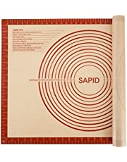 Sapid Extra Thick Silicone Pastry Mat Non-slip with Measurements for Non-stick Silicone Baking Mat Extra Large, Dough Rolling, Pie Crust, Kneading Mats, Countertop, Placement Mats (20 x 28, Red)