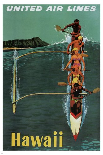 HSE united air lines VINTAGE TRAVEL POSTER hawaii 1950 36x24 riding the wave (Travel Hawaii Poster)