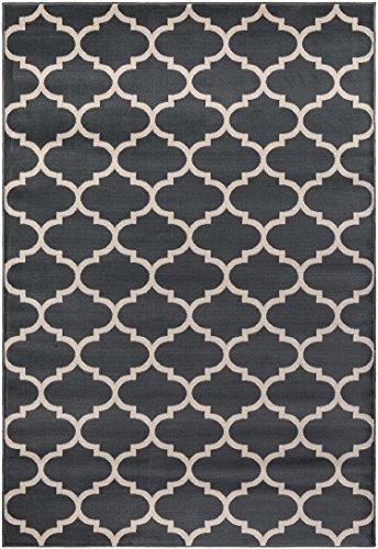 "Regal Collection Oriental Design Moroccan Trellis Grey (5'3""x7'6"") Lattice Area Rug"