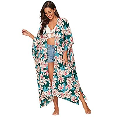 SweatyRocks Women's Flowy Kimono Cardigan Open Front Maxi Dress at Women's Clothing store