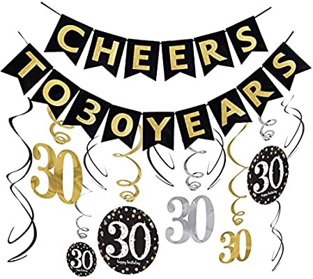 Cheers to 80 Years Birthday Banner Party Backdrop Decoration Black and Silver