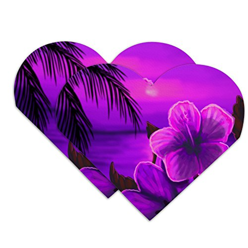 Beach Sunset Hibiscus Flower Hawaiian Purple Heart Faux Leather Bookmark - Set of - Flower Purple Bookmark
