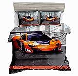 SxinHome Orange Speed Sport car Bedding Set for Teen Boys, Duvet Cover Set,3pcs 1 Duvet Cover 2 Pillowcases(no Comforter inside), Full Size