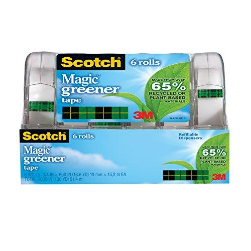 Scotch Magic Greener Tape with 2 Piece Dispenser, 3/4 x 600 Inches, 6-Pack (6123)
