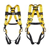 3 D-Ring Industrial Fall Protection Safety Harness ANSI Compliant Full Body Personal Protection Equipment 5-Point Adjustment Universal 310 lbs