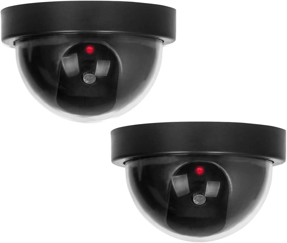 Dummy Security Camera, BNT Fake Security Camera with One Flashing Red LED Light, for Home and Businesses Indoor Outdoor(2Pack, Black)