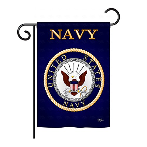 """Breeze Decor G158058 Navy Americana Military Impressions Decorative Vertical Garden Flag 13"""" x 18.5"""" Printed in USA Multi-Color from Breeze Decor"""
