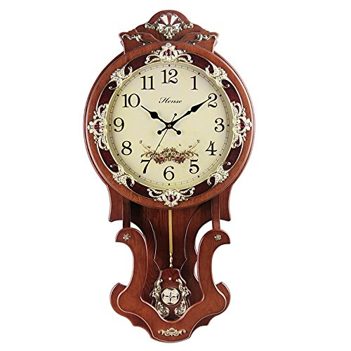 HENSE Antique Retro Decorative 16-Inch Wood Hand-Painted Wall Clock Mute Quartz Movement Sweep Second Hand Wall Clocks w/Swinging Pendulum HP07 (Brown)