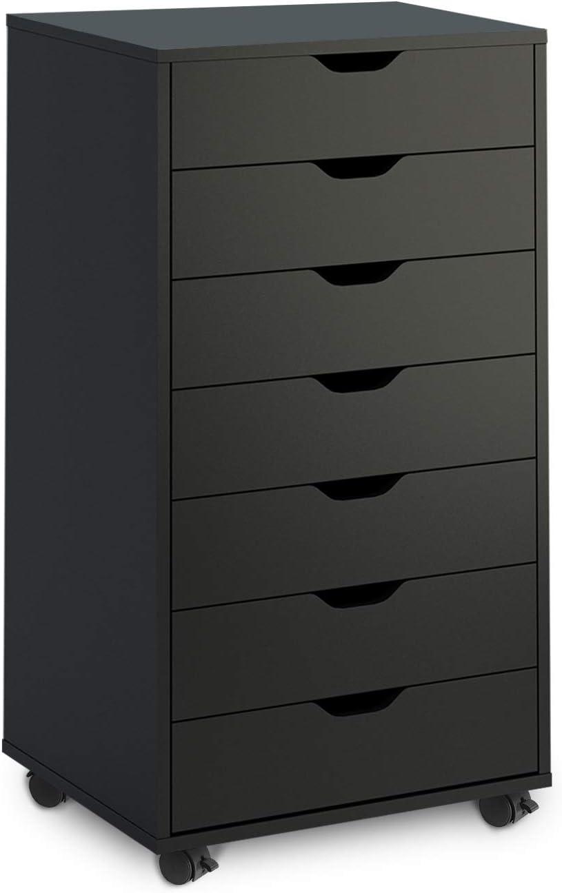 DEVAISE 7 Drawers Chest, Storage Dresser, Cabinet with Removable Wheels (Black)