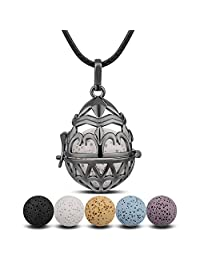 INFUSEU Aromatherapy Necklace Lava Stone Rock Beads Essential Oil Diffuser Locket Pendant Jewelry for Women