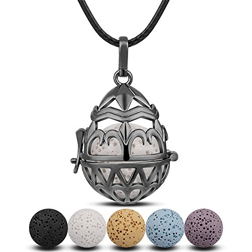 Flowers Metal Clasp Necklace (INFUSEU Gunmetal Teardrop Sunflower Fleur De Lis Mandala Flower Aromatherapy Essential Oil Diffuser Locket Pendant Necklace)