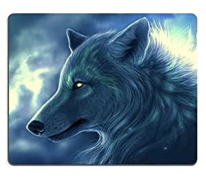 Animal Wildlife Arctic Wolf Fantasy Cold Blue Howl Mouse Pads Customized Made to Order Support Ready 9 7/8 Inch (250mm) X 7 7/8 Inch (200mm) X 1/16 Inch (2mm) High Quality Eco Friendly Cloth with Neoprene Rubber Luxlady Mouse Pad Desktop Mousepad Laptop Mousepads Comfortable Computer Mouse Mat Cute Gaming Mouse pad