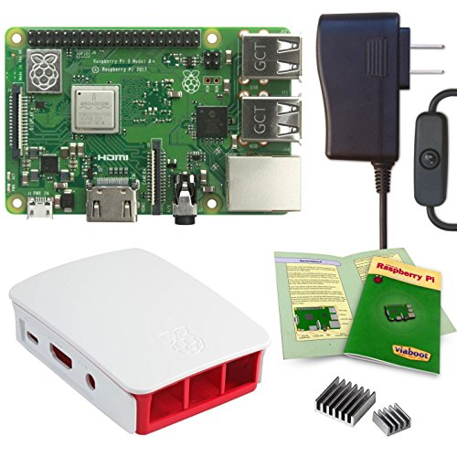 Viaboot Raspberry Pi 3 B+ Power Kit — UL Listed 2.5A Power Supply, Official Raspberry Pi Foundation Red/White Case Edition by Viaboot