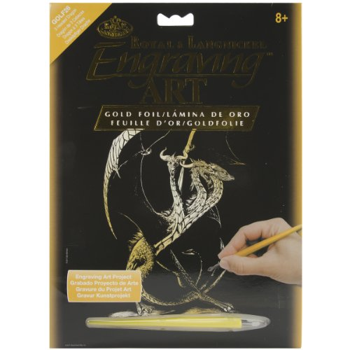 Art Royal Engraving (Royal Brush GOLDFL-26  Gold Foil Engraving Art Kit, 8 by 10-Inch, 3 Headed Dragon)
