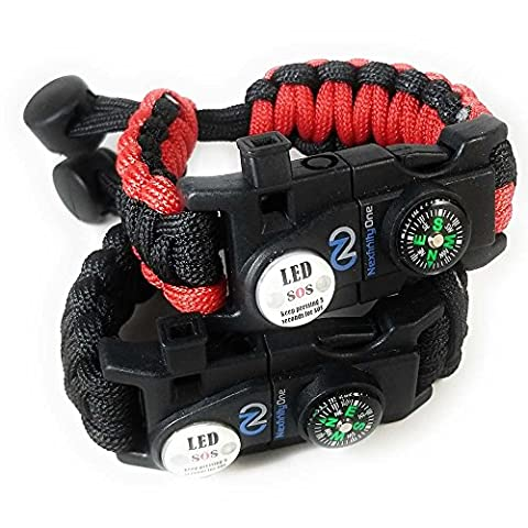 Adjustable Survival Paracord Bracelet 550 Grade with SOS LED Light, Firestarter, Compass, Rescue Whistle and compact Multitool Included