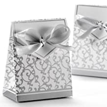 Wedding Favour Candy Boxes Gift Boxes With Ribbons 50pcs (Silver)