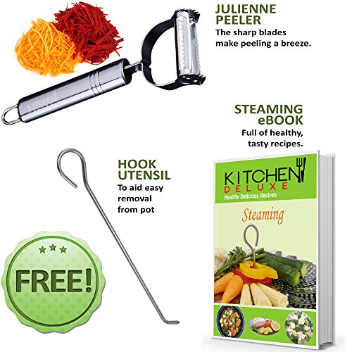 PREMIUM Vegetable Steamer Basket - BEST Bundle - Fits Instant Pot Pressure Cooker 3,5,6 Qt & 8 Quart - 100% Stainless Steel - BONUS Accessories - Safety Tool + eBook + Peeler | For Instapot - Egg Rack by kitchen deluxe (Image #8)