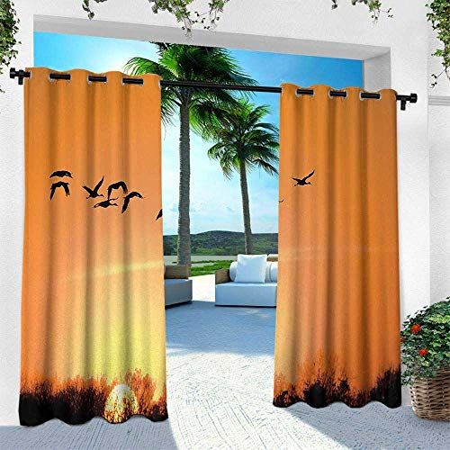 Hengshu Birds, Outdoor- Free Standing Outdoor Privacy Curtain,Bird Migration Over Desert Autumn View at Sunset Evening Seasonal Picture Print, W108 x L108 Inch, Orange Black