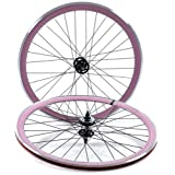 State Bicycle Fixed Gear/Fixie 700c Machined Track Wheels, Front Plus Rear, Pink by State Bicycle Co.