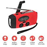 Leegoal Emergency Hand Crank Radio, Self Powered AM/FM NOAA Solar Weather Radio with LED Flashlight, Power Bank for Smart Phone for Hiking Camping Outdoor Activities