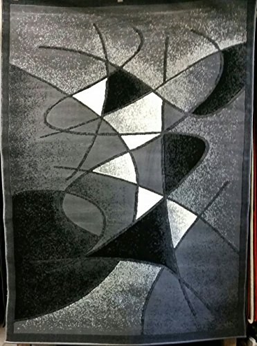 Modern Abstract Area Rug Grey Design #GL24 (8ft.x10ft.) by Gallery