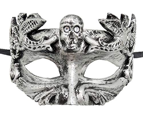 Coolwife Mens Masquerade Mask Vintage Venetian Greek Roman Colombina Mardi Gras Party Mask (B Silver) -