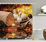 Ambesonne Spa Decor Collection, Outdoor Spa Massage Setting at Sunset with Candlelight Reflections Culture Picture, Polyester Fabric Bathroom Shower Curtain Set with Hooks, Brown Ivory Cream
