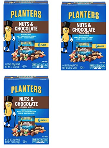 Planters Trail Mix, Nuts and Chocolate MandMs, 7.5 Ounce Box each, 18 Bags Total ()