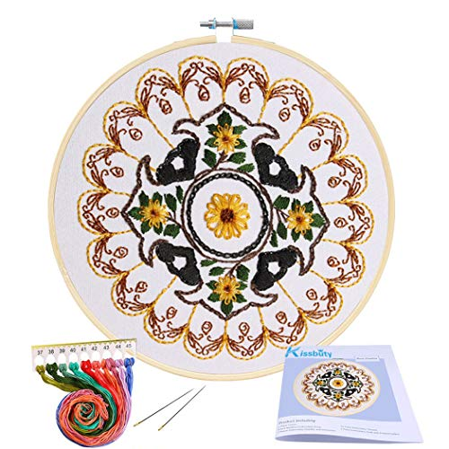 Full Range of Embroidery Starter Kit with Pattern, Kissbuty Cross Stitch Kit Including Stamped Embroidery Cloth with Floral Pattern, Bamboo Embroidery Hoop, Color Threads and Tools Kit (Yellow Flower)
