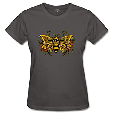 Amazoncom Qthrifty59 Womens Vintage Butterfly Bee Tattoo T Shirts