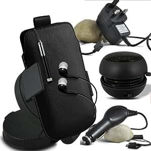 ONX3 Samsung S4 Mini I9190 Leather Slip cuerda del tirón de la PU de protección en la bolsa del lanzamiento rápido con Mini capacitivo Retractabletylus Pen, 3.5mm en auriculares del oído, mini altavoz recargable Cápsula, 360 Rotación del parabrisas del coche horquilla del sostenedor del montaje, Micro USB CE aprobó 3 Pin Cargador , 12v Micro USB cargador de coche (Negro)
