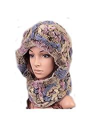 UK.GREIFF Womens Warm Soft Stretch Fur Neck Protected Winter Beanie Skull Hat