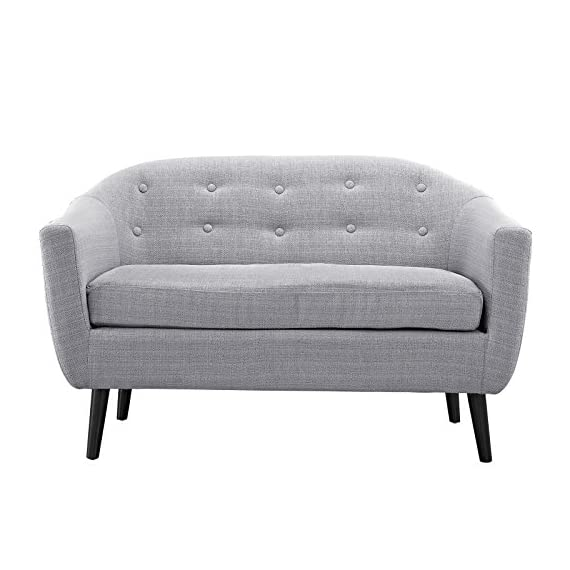 Modway Wit Loveseat in Light Gray - Mid-century modern style Loveseat Solid rubber wood legs Non-marking foot caps - sofas-couches, living-room-furniture, living-room - 513HFImiSSL. SS570  -