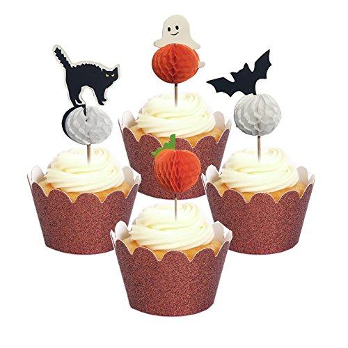 PARTYMASTER Halloween Decor 48Pcs Bat Cat Pumpkin Ghost
