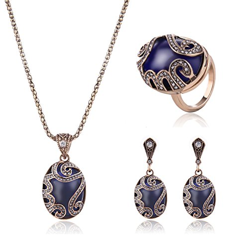 AMADER Necklace Earring Ring Fashion Jewelry Sets Boxed Gold Plated (Benefit Card Costume)