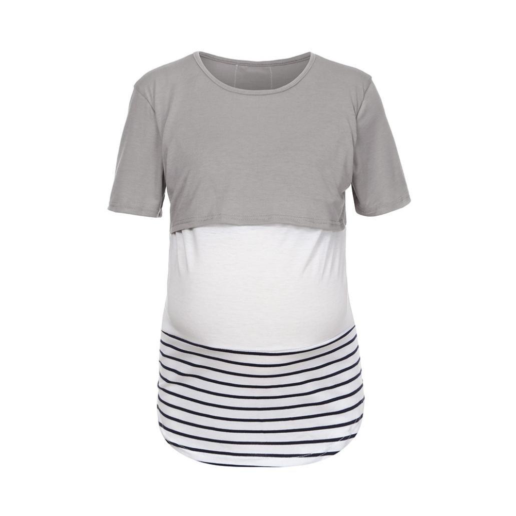 Gusspower Mamá Camiseta de Enfermería Maternidad Lactancia Materna Manga Larga Sudaderas Blusa Camisas a Rayas
