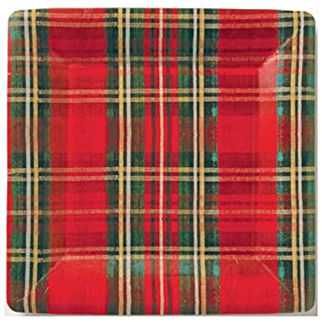 Amazon.com: 84-Piece Mesafina Red Holiday Tartan Plaid Disposable ...