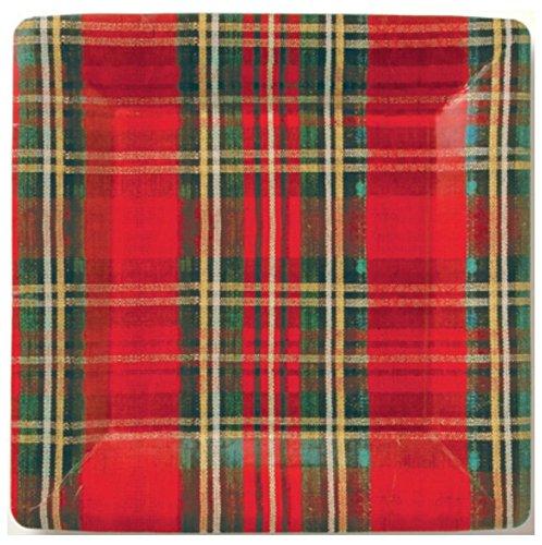 84-Piece Mesafina Red Holiday Tartan Plaid Disposable Dinner Plates, Salad Plates, Napkins Dinnerware Set