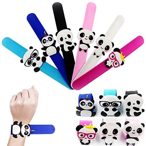 Slap Bracelet Silicone Wristbands Animal Slap Bands Panda Souvenir Gifts Novelty Toy School Prize Gifts Children Goodie Bag Filler Panda Toy for Kids ()